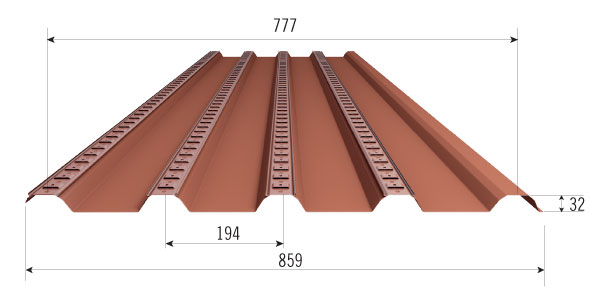 transversal section under tile metal sheet Sottocoppo